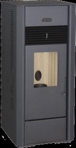 ASTRA P8DPlus, 8kW effekt, utrustad med extra fäkt och uttag på baksidan för värmetransport till angränsande rum.